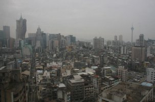 Macaon keskustaa hotellin ikkunasta