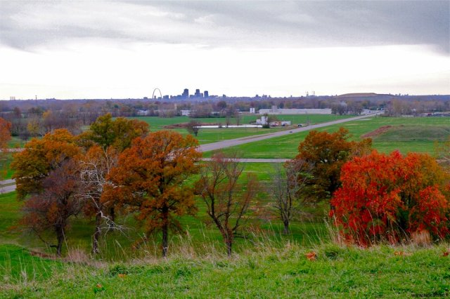 st louis seen from top of cahokia monk mound