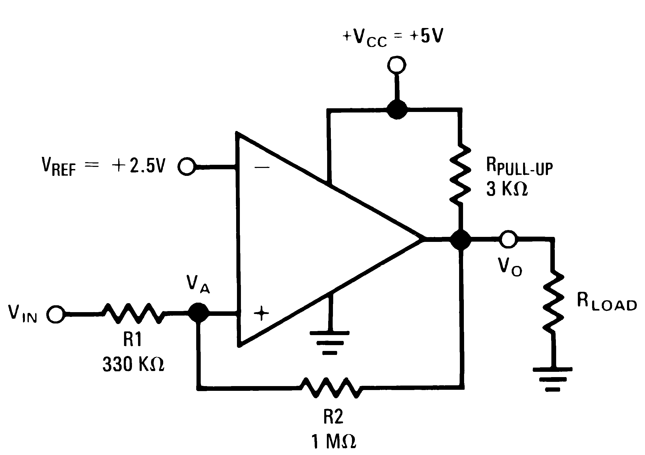 Noninverting Comparator With Hysteresis Circuit Diagram