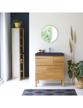waschtisch aus massivem eichenholz mit waschbecken aus lavastein 80 easy