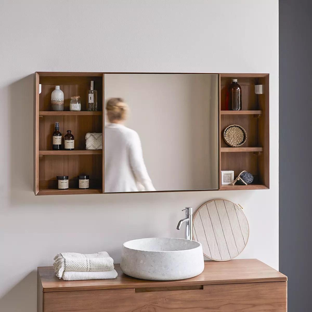 Armoire De Toilette En Teck 120 Cm Miroirs Salle De Bain Tikamoon