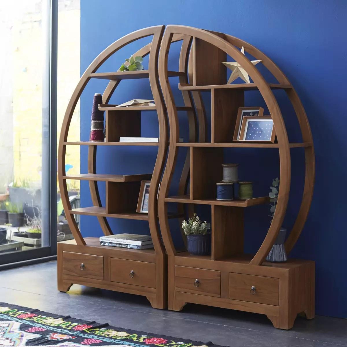 bibliotheque en teck massif 155x155 sphere bi ying yang