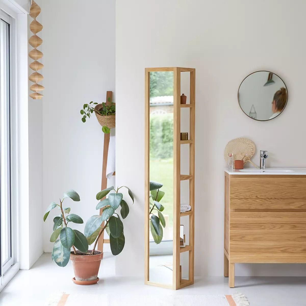 colonne miroir droite en teck massif 30 twig