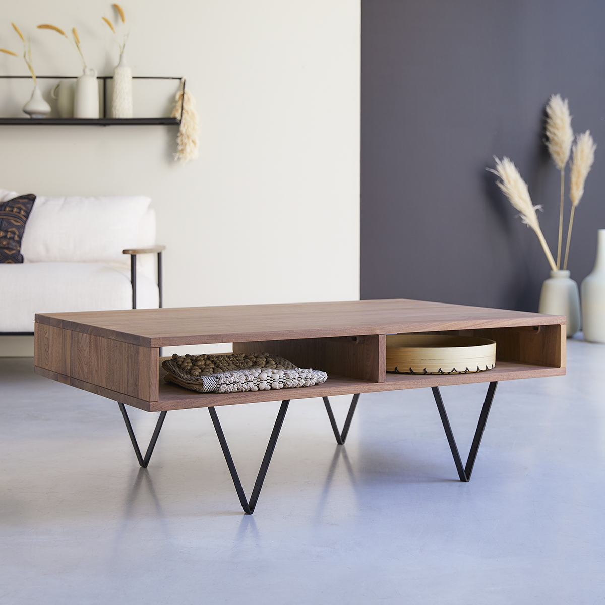 metric solid walnut coffee table 115 x 70 cm
