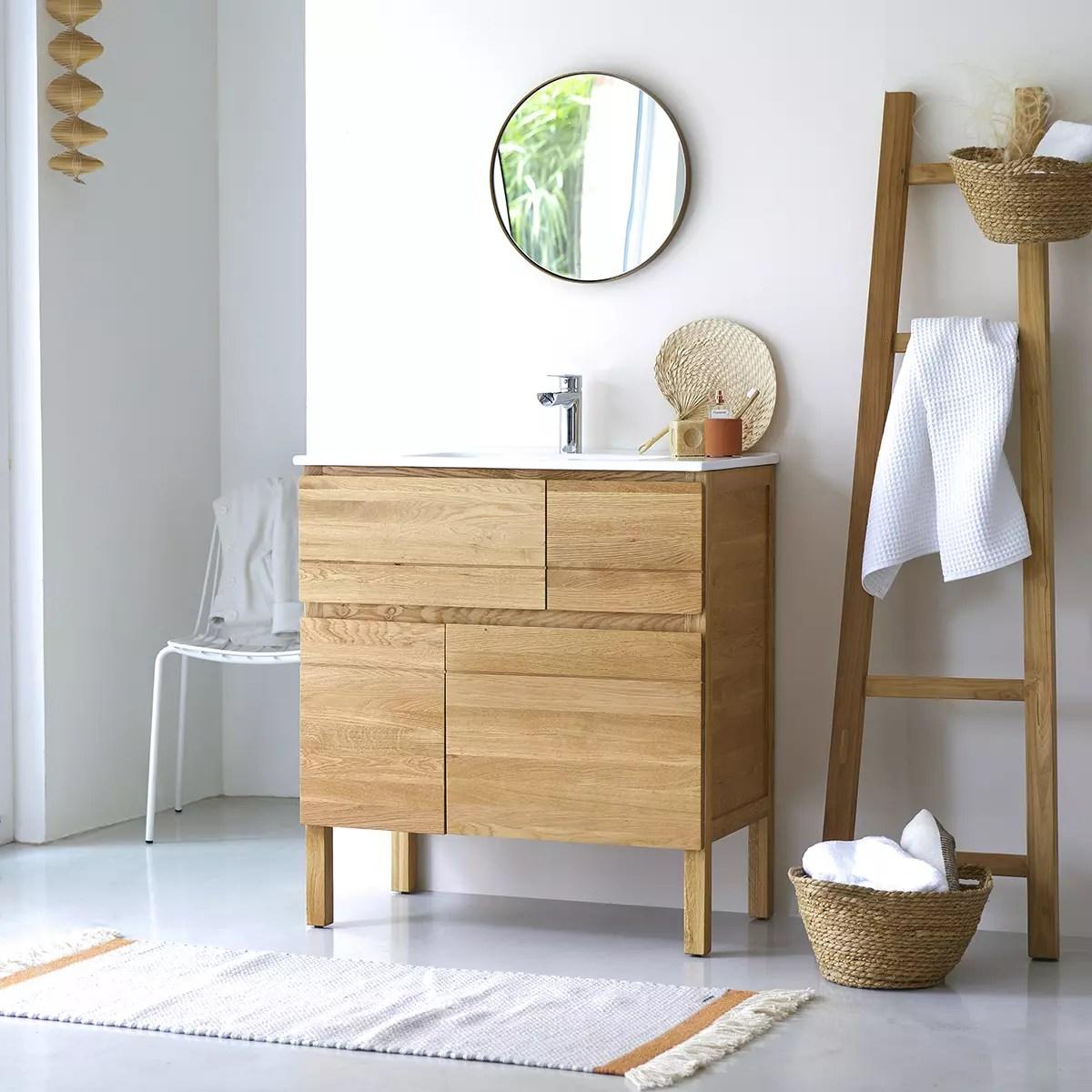 meuble salle de bain en chene massif et ceramique 80 easy