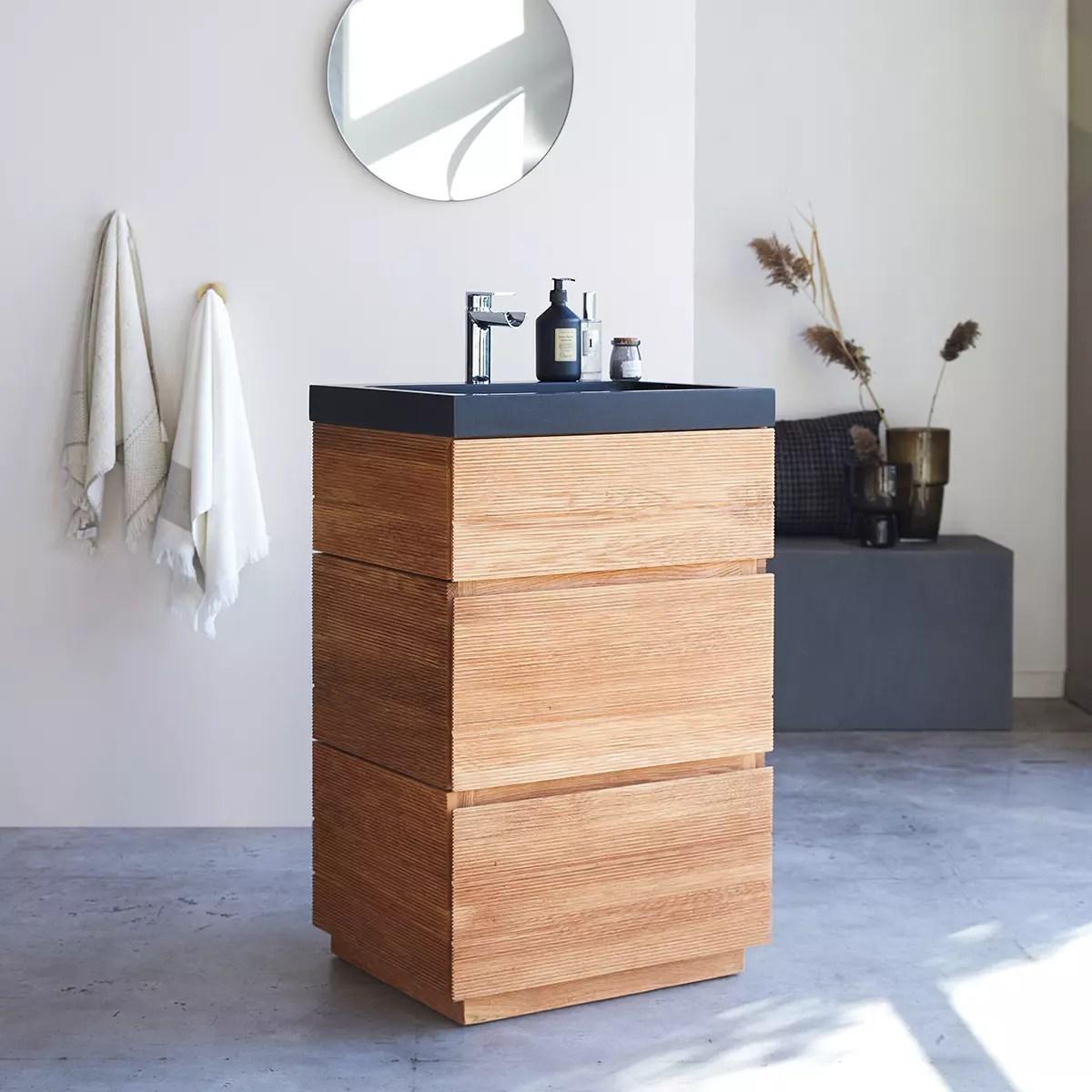 meuble salle de bain en chene massif et pierre de lave 60 karl