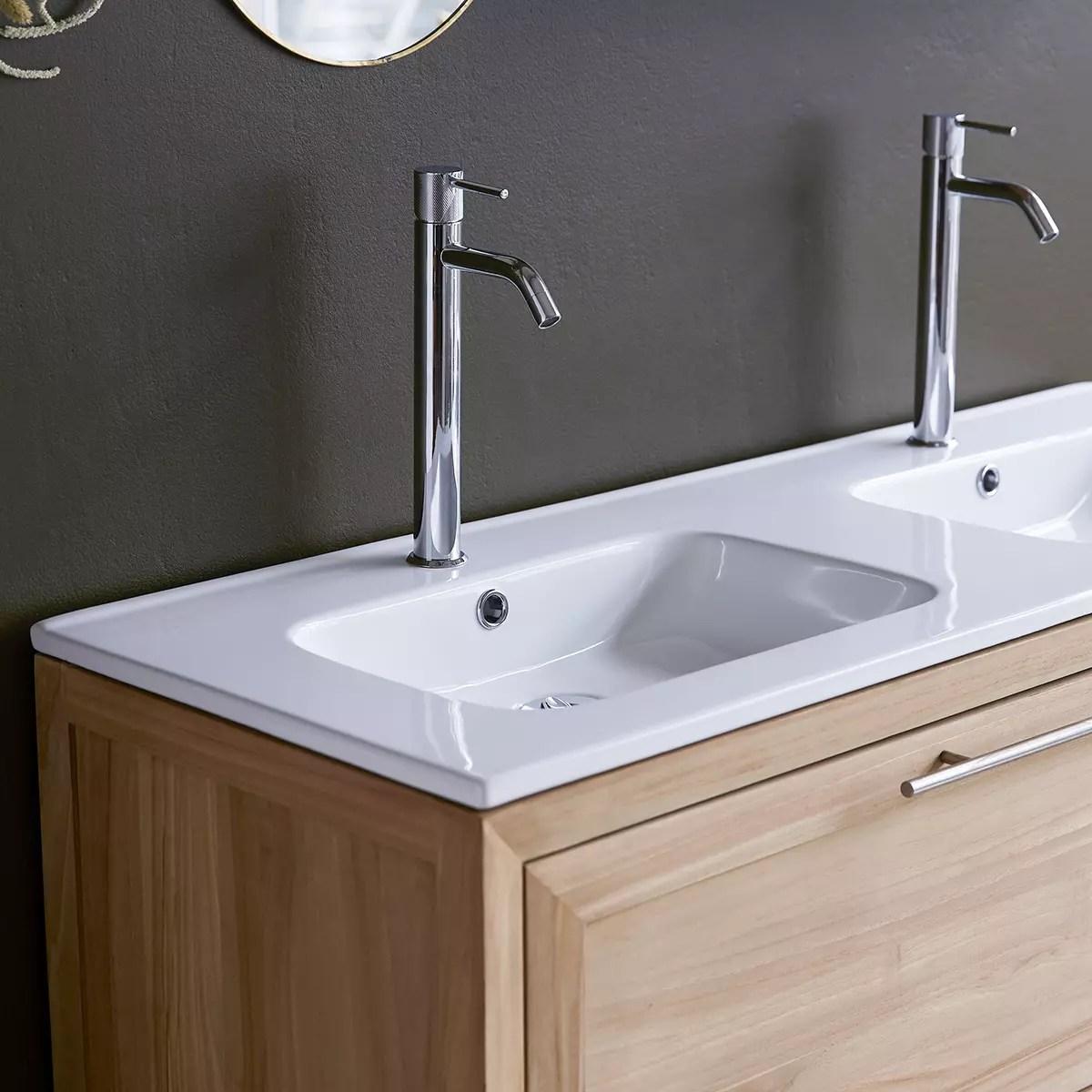 meuble salle de bain en teck massif et ceramique 120 wave