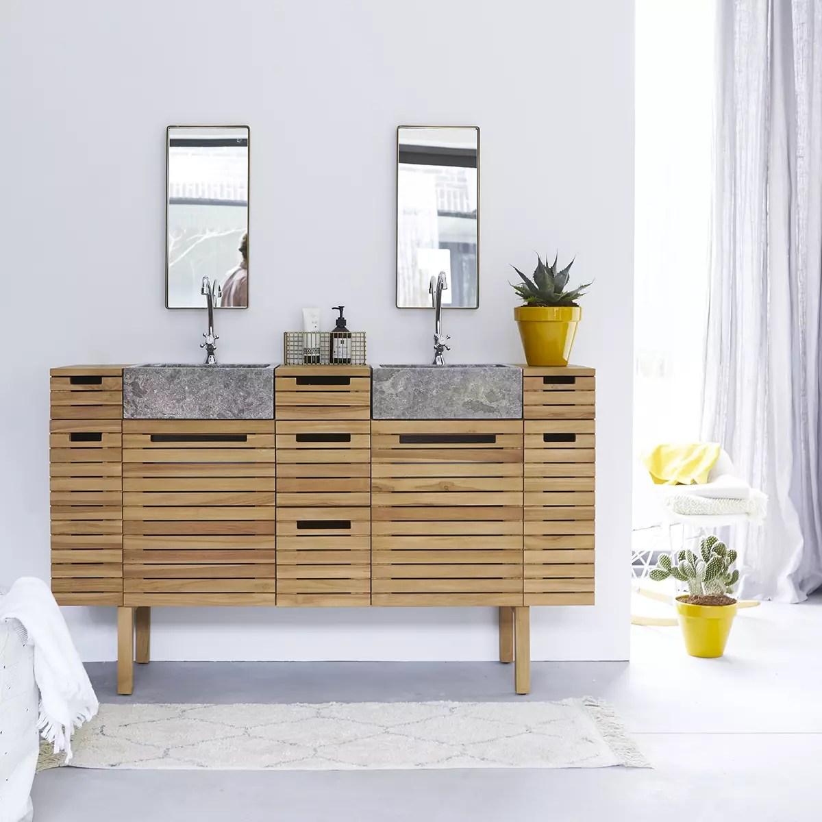 meuble salle de bain en teck massif et marbre 150 slats