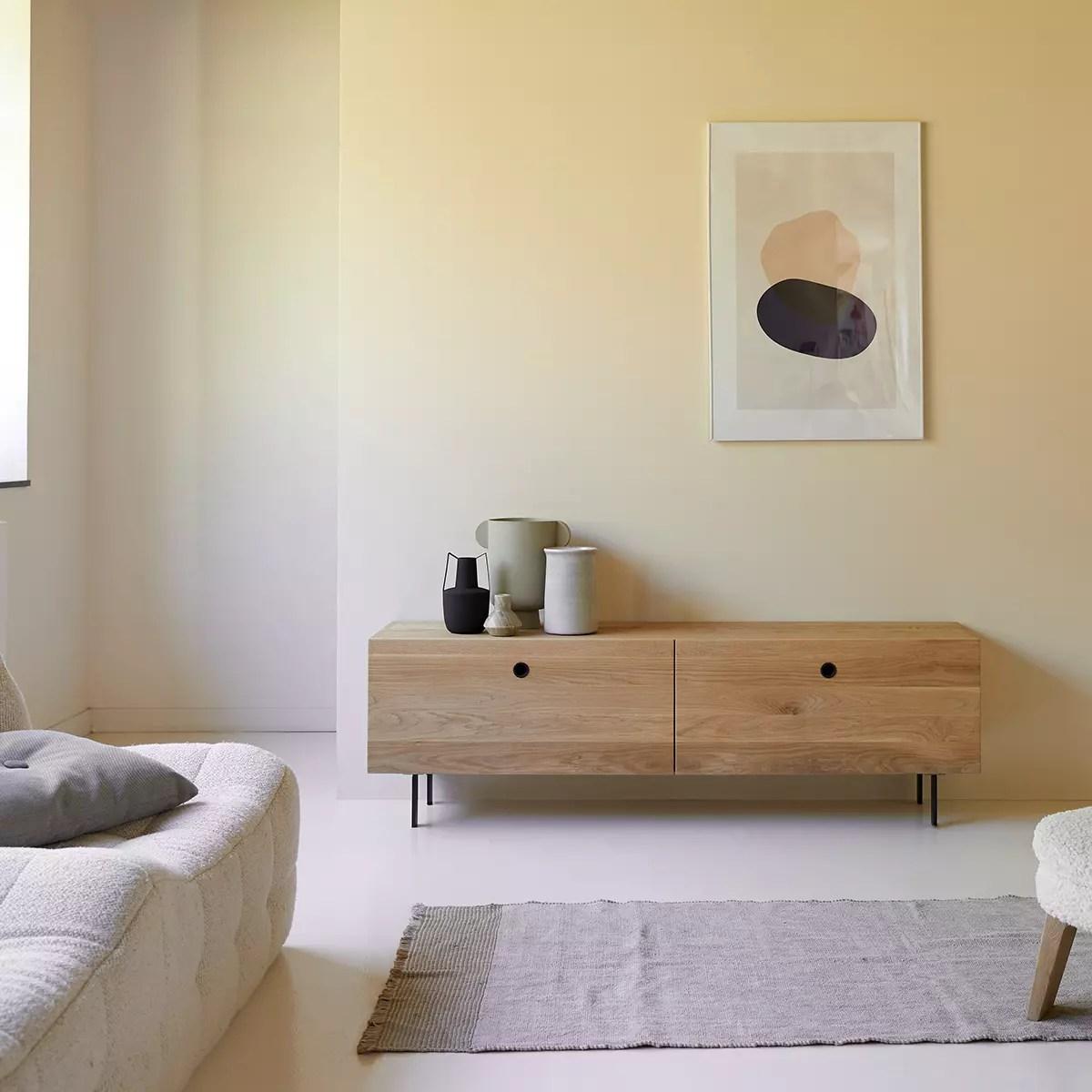 meuble tv en chene massif jeanne 160 cm