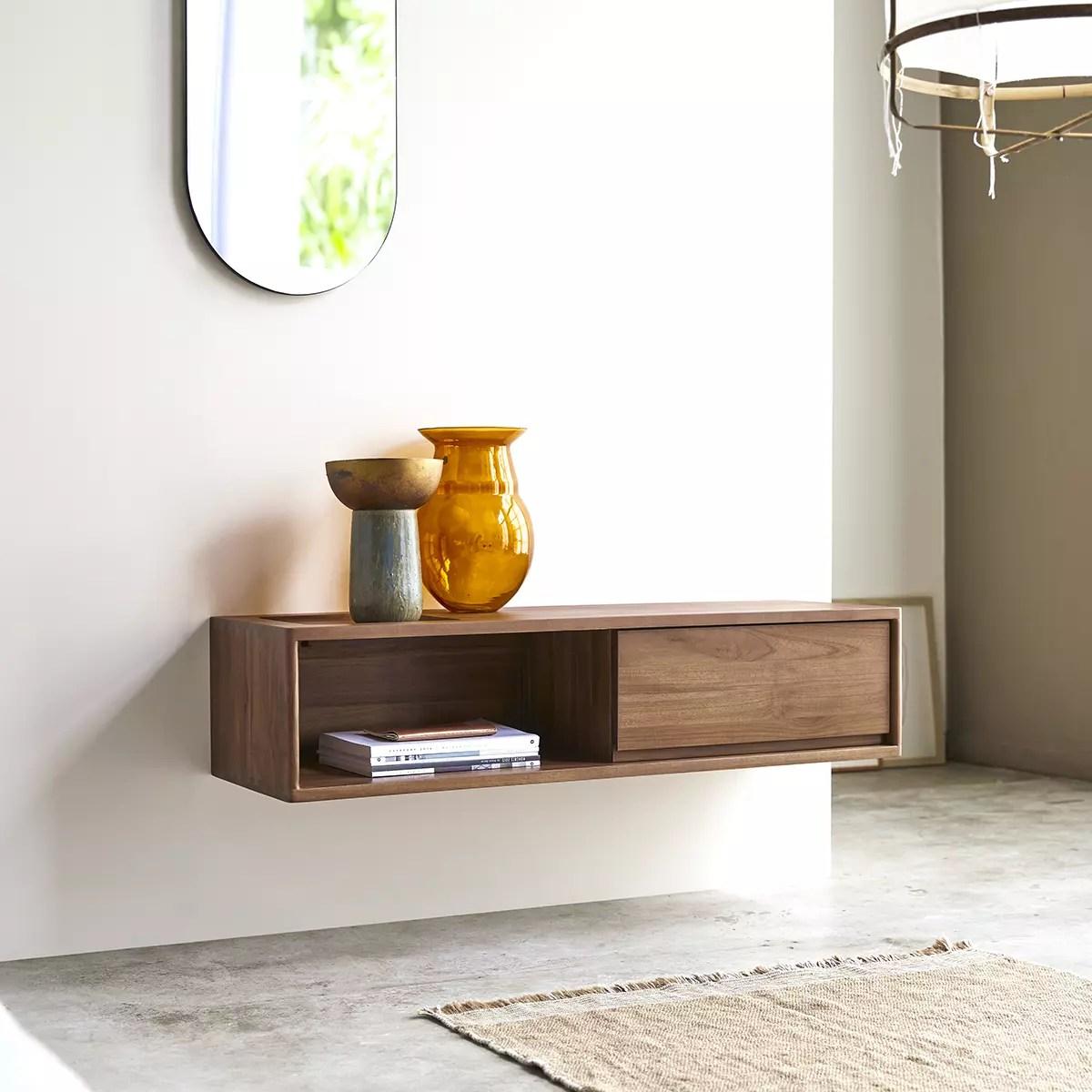 meuble tv en teck massif circa 1 tiroir 110 cm