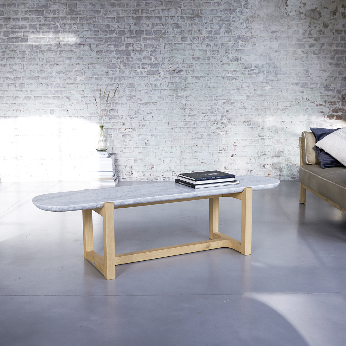 stoneleaf solid oak and marble coffee table 170x45