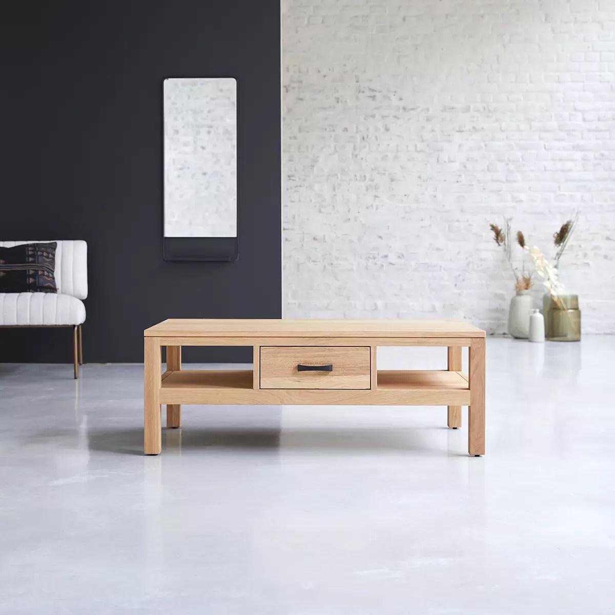 table basse en chene massif vertigo