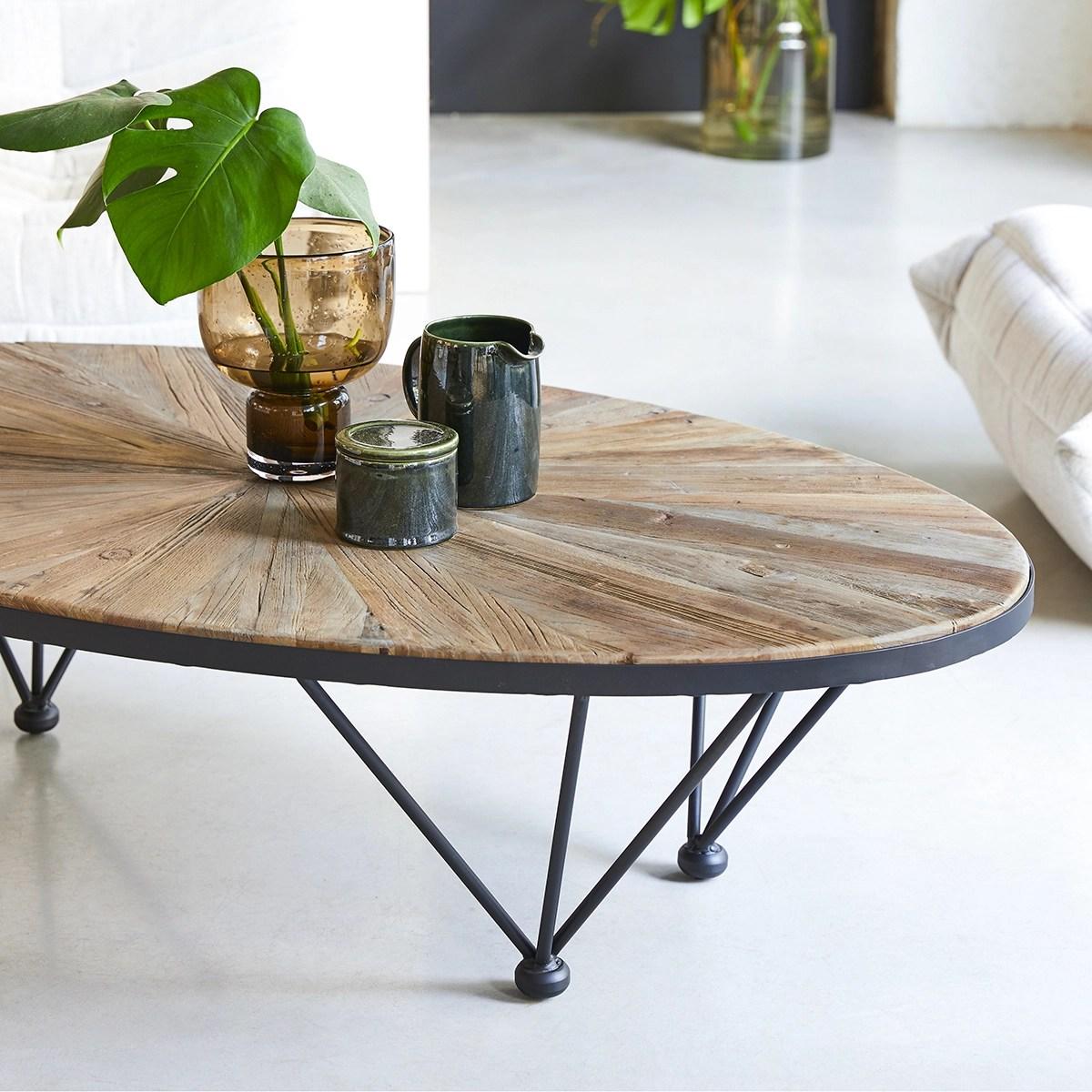 table basse en metal et orme massif 140x80 lancelot