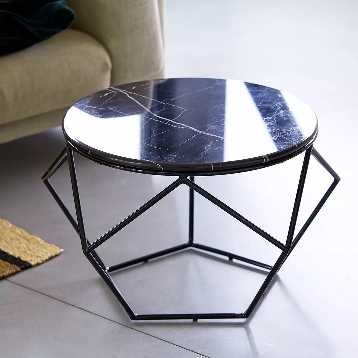 table basse ronde en marbre et metal