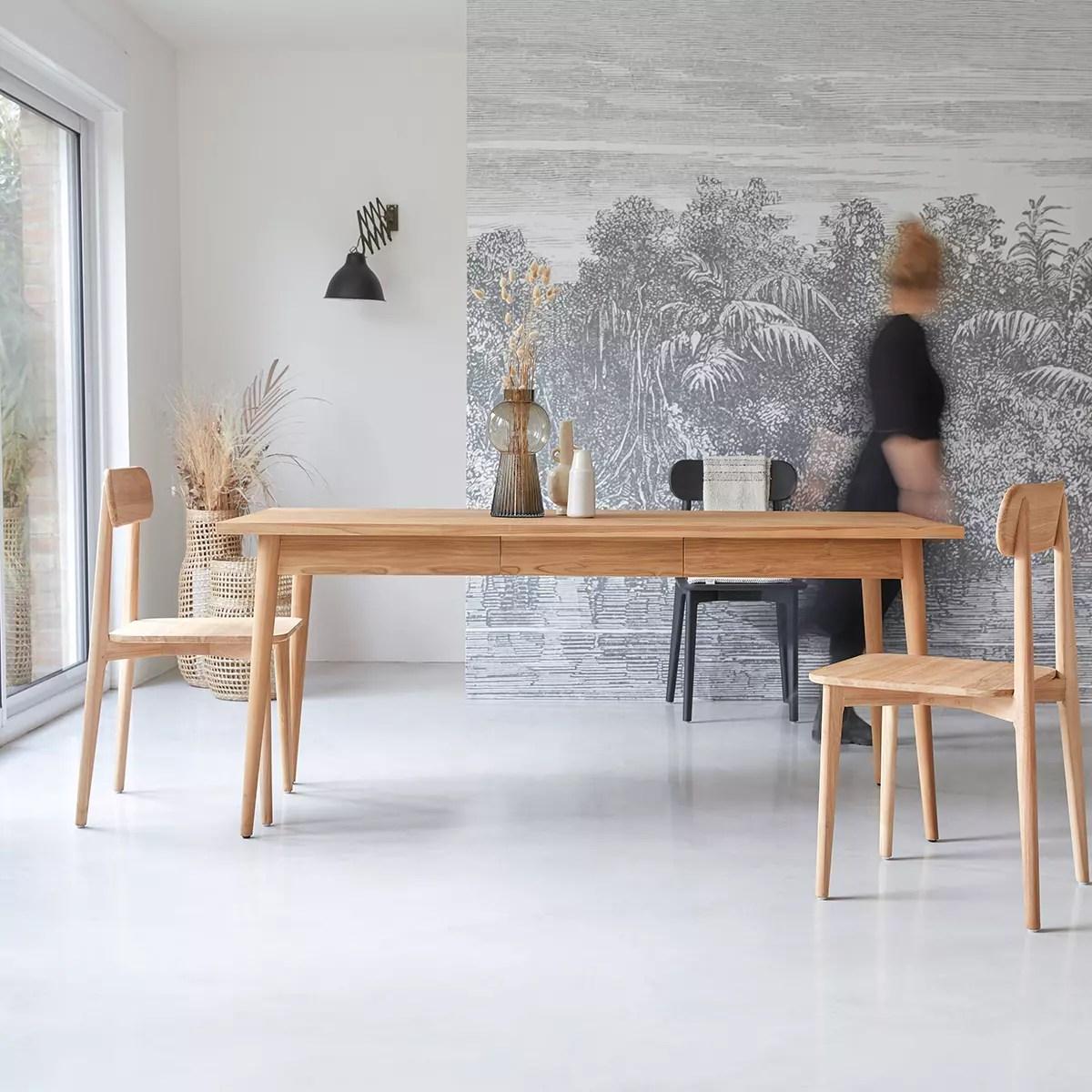 table de salle a manger 180x80 en teck massif jonak