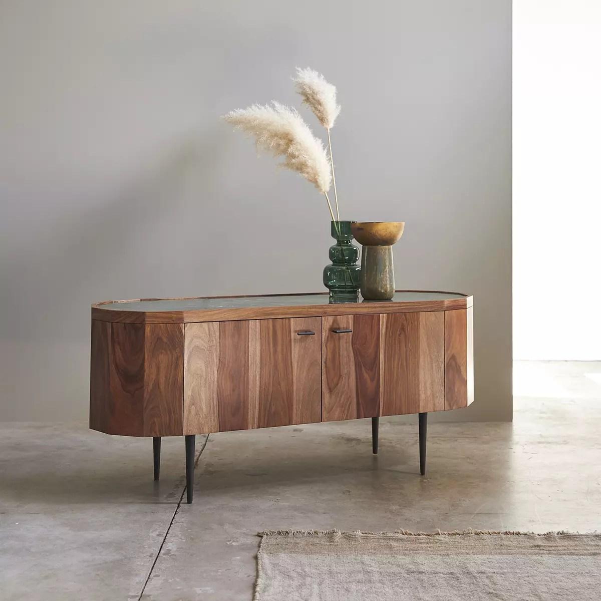 tv schrank aus massivem palisanderholz und marmor jade 130 cm