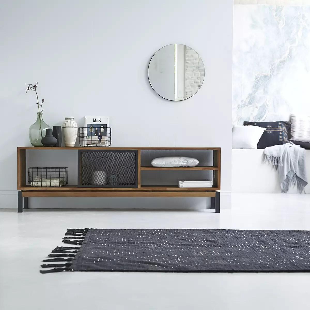 tv schrank aus massivem teakholz und metall bebop black 170 cm