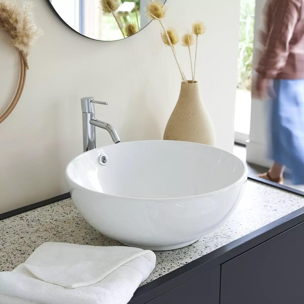 Vasque En Ceramique 40 Cm Mobilier Pour La Salle De Bain Tikamoon