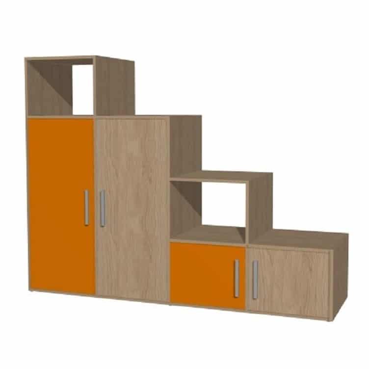 placard sous escalier avec portes