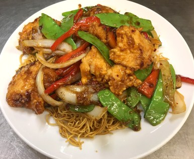 Butterfly Chicken, Peppers & Mixed Vegetables on Soft Noodles