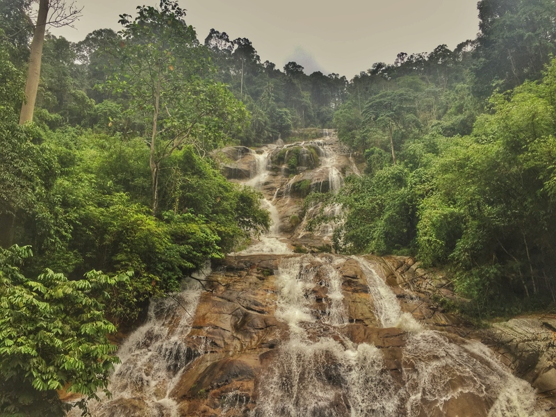 latu kinjang waterfall from the swingbridge