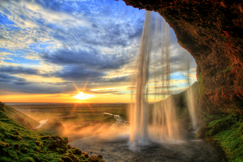 sunset waterfalls in iceland