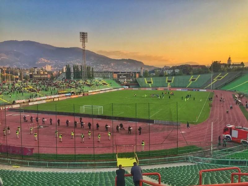 sunset at FK Sarajevo stadium