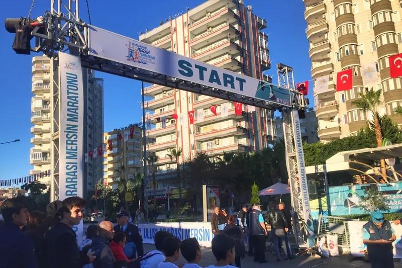 at the start line of first marathon