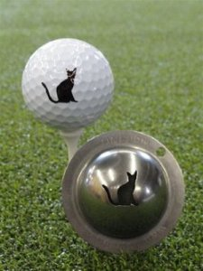 cat logo on golf ball