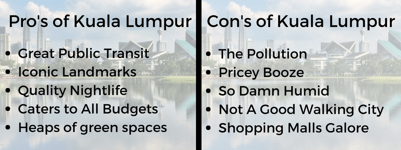 table with bullet points on whether is it worth visiting kl or not