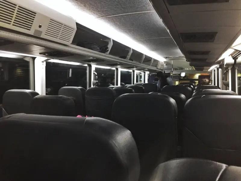 interior of a greyhound bus