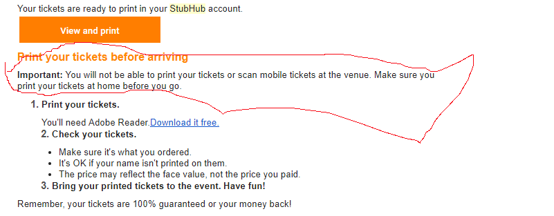 stubhub printed tickets