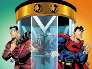 superman and the phone booth