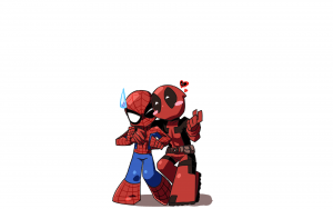 chibi spider-man and deadpool