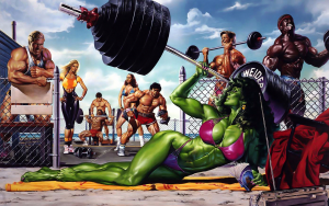 She-Hulk on muscle beach