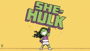 chibi she hulk with her logo