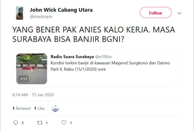 Banjir Surabaya, Netizen Salahkan Anies