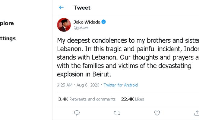 Sampaikan Belasungkawa Tragedi Ledakan Beirut, Jokowi: Indonesia Berdiri Bersama Lebanon