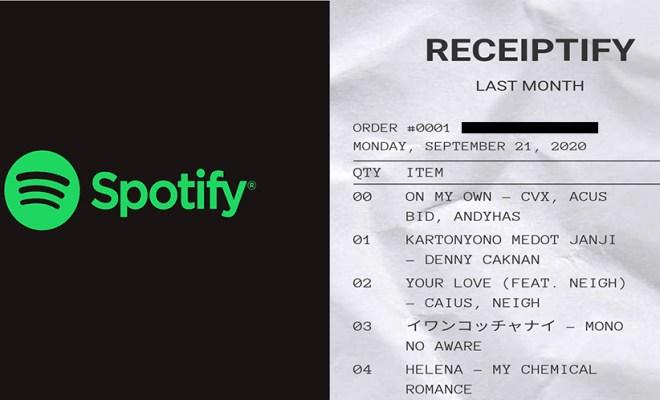 Cara Bikin Receiptify, Rangkuman Lagu Spotify Bentuk Struk Belanja