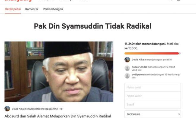 Tolak Tudingan 'Din Syamsuddin Radikal', 14 Ribu Orang Lebih Sudah Teken Petisi