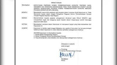 Surat Penonaktifan 75 Pegawai Tak Lolos TWK Beredar, KPK Buka Suara