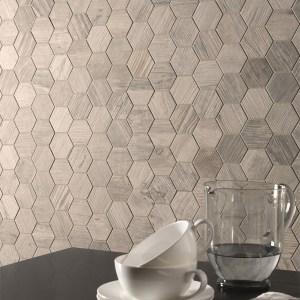 Oregon White Wood Hexagon Mosaic room Scene