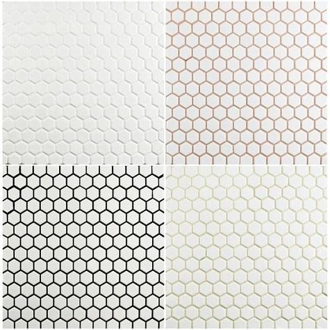 lau 1 hexagon mosaic tile white with black