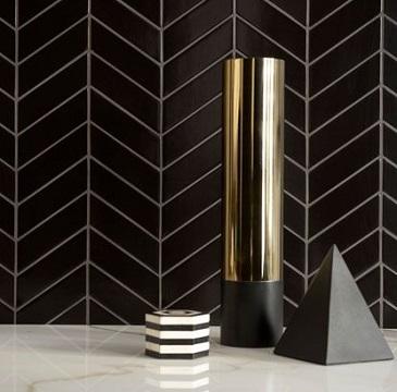 mul 3x16 chevron porcelain tile tino black