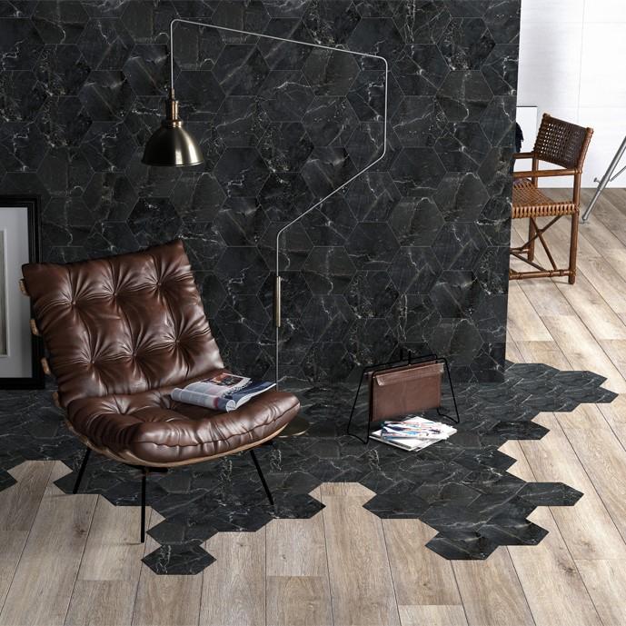 yrt 8x10 stream black hex porcelain tile