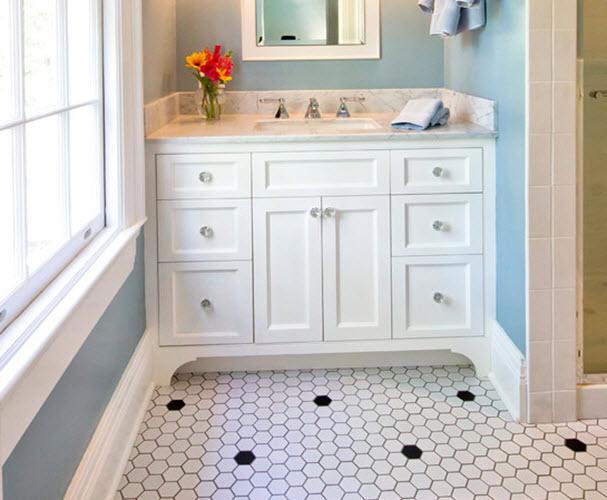31 retro black white bathroom floor