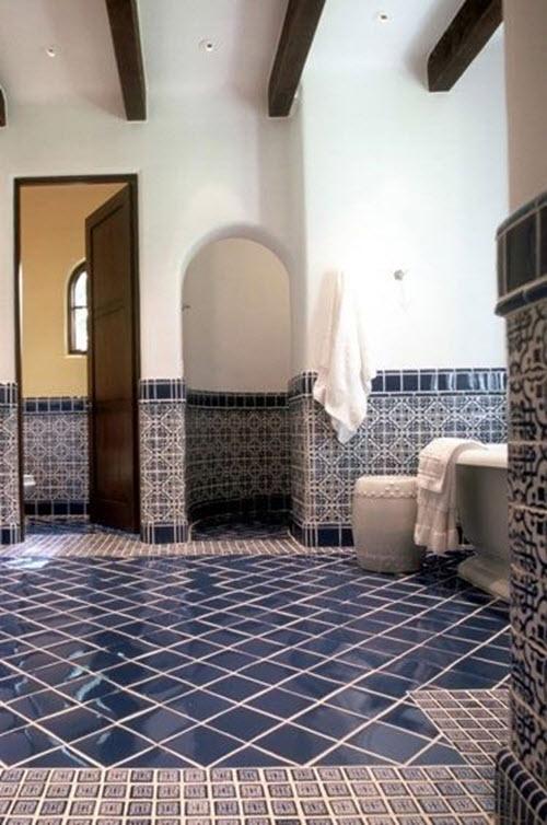 37 Dark Blue Bathroom Floor Tiles Ideas And Pictures