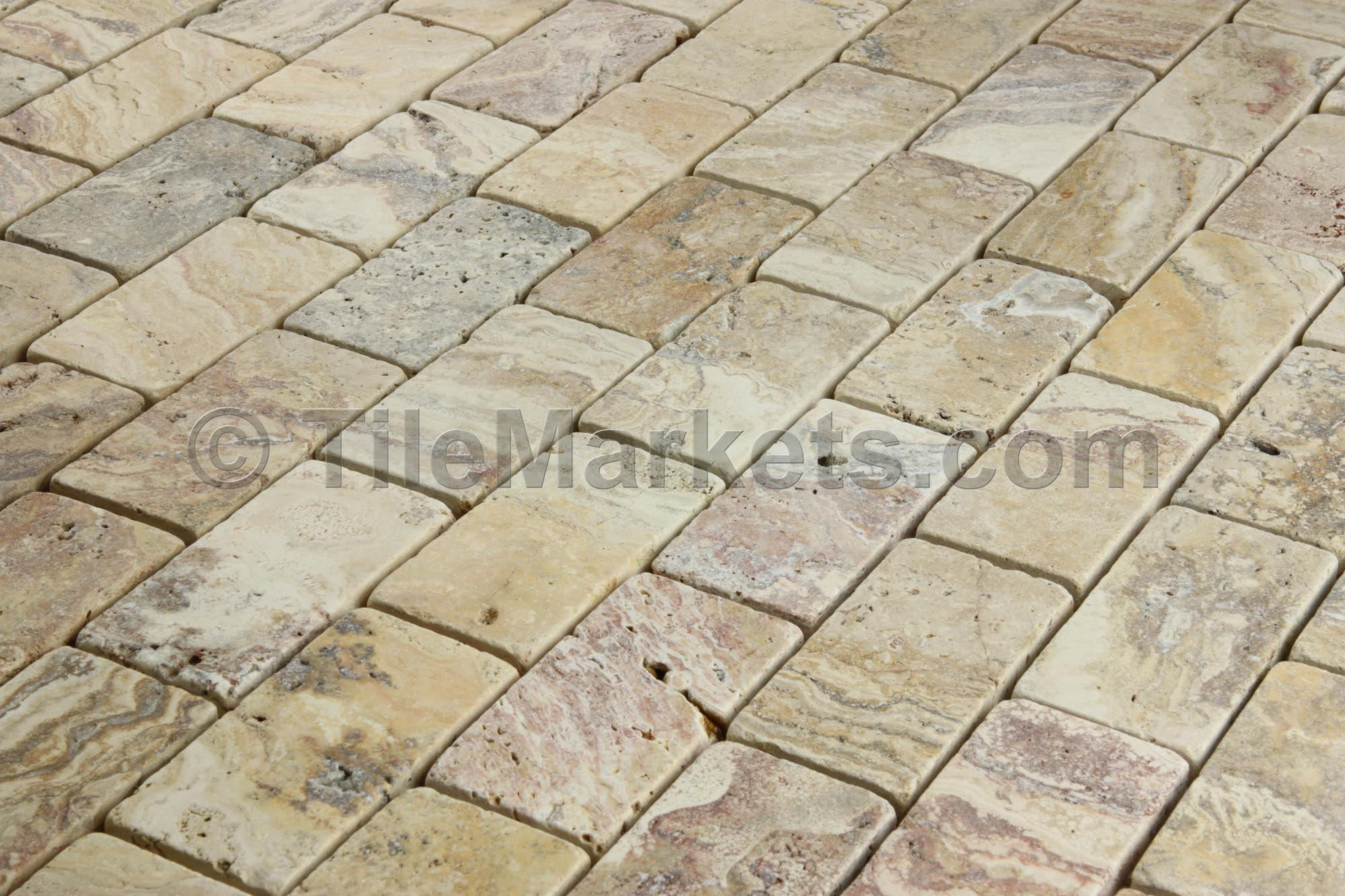 Travertine Scabos 2x4 Tumbled TileMarkets