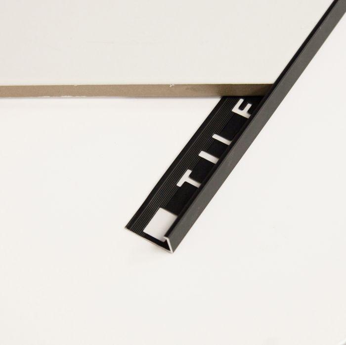 tile trim black aluminium square edge 10mm 2 4mtr long