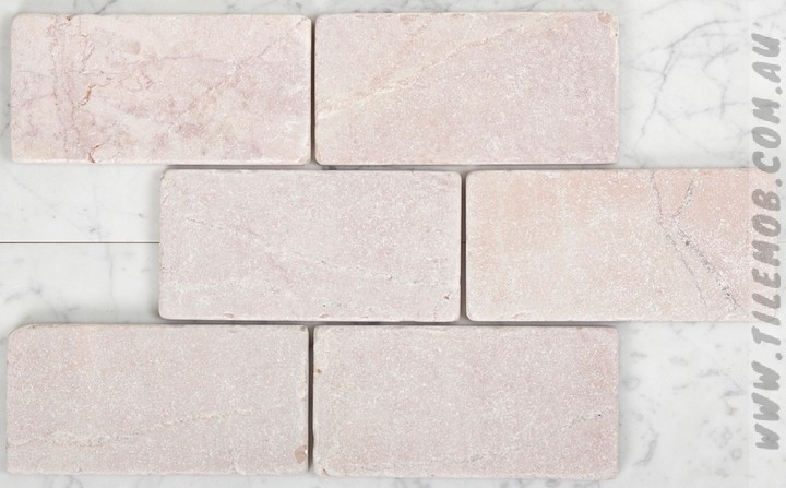 pink tumbled subway marble 75x150mm